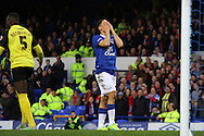 Steven Pienaar of Everton reacts after missing a chance to score. The Emirates FA cup, 3rd round match, Everton v Dagenham & Redbridge at Goodison Park in Liverpool on Saturday 9th January 2016.<br /> pic by Chris Stading, Andrew Orchard sports photography.