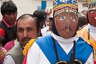 """Feast of """"Mamacha del Carmen"""" of Paucartambo. A Qhapaq Chunchu during the greet to the Lady that takes place on the first day"""