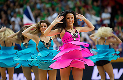 Cheerleaders Klaipeda University Dance Team (Zalgdance)  during basketball game between National basketball teams of Lithuania and France at FIBA Europe Eurobasket Lithuania 2011, on September 9, 2011, in Siemens Arena,  Vilnius, Lithuania. France defeated Lithuania 73-67.  (Photo by Vid Ponikvar / Sportida)