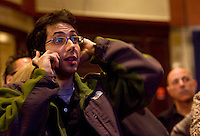 HARTFORD, CT - 02 NOVEMBER 2010 -.Aaron Greenburg, of Madison, reacts to poll results broadcast on a television at the Society Room in Hartford on Tuesday night as supporters of Tuesday's Democratic candidates gathered..Photo by Josalee Thrift