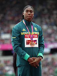 South Africa's Caster Semenya (bronze) on the podium for the Women's 1500m during day five of the 2017 IAAF World Championships at the London Stadium. PRESS ASSOCIATION Photo. Picture date: Tuesday August 8, 2017. See PA story ATHLETICS World. Photo credit should read: Yui Mok/PA Wire. RESTRICTIONS: Editorial use only. No transmission of sound or moving images and no video simulationSouth Africa's Caster Semenya (bronze) on the podium for the Women's 1500m during day five of the 2017 IAAF World Championships at the London Stadium. PRESS ASSOCIATION Photo. Picture date: Tuesday August 8, 2017. See PA story ATHLETICS World. Photo credit should read: Yui Mok/PA Wire. RESTRICTIONS: Editorial use only. No transmission of sound or moving images and no video simulatio