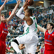 CSKA Moscow's Darjus Lavrinovic (R) and Andrei Kirilenko (L) during their Euroleague Final Four semifinal Game 1 basketball match CSKA Moscow's between Panathinaikos at the Sinan Erdem Arena in Istanbul at Turkey on Friday, May, 11, 2012. Photo by TURKPIX