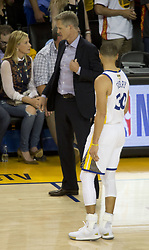 May 31, 2018 - Oakland, California, U.S - Coach, Steve Kerr with Stephen Curry #30 of the Golden  State Warriors during  their NBA Championship Game 1  with the Cleveland Cavaliers at Oracle Arena in Oakland,  California on Thursday,  May 31, 2018. ARMANDO  ARORIZO/PI (Credit Image: © Prensa Internacional via ZUMA Wire)