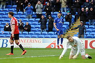 Cardiff City's Callum Paterson © celebrates after scoring his Cardiff's third goal. EFL Skybet championship match, Cardiff city v Sunderland at the Cardiff city stadium in Cardiff, South Wales on Saturday 13th January 2018.<br /> pic by Carl Robertson, Andrew Orchard sports photography.