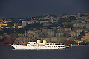 Talitha G, 80 meter (270 foot) motor yacht owned by billionaire Mark Getty anchored off Naples, Italy. Designed in 1927 by the distinguished naval architects Cox & Stevens and built by renowned German shipyard of Frederich Krupp Germania Werft A/G, in Kiel. The ship has sailed under the names: MY REVELER, CHALENA, CAROLA, U.S.S BEAUMONT, MY ELPETAL, MY JEZEBEL, MY TALITHA G.