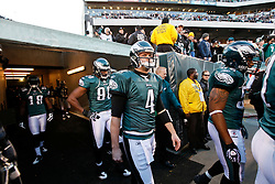 Philadelphia Eagles quarterback Kevin Kolb #4 enters the field before the NFL game between the Denver Broncos and the Philadelphia Eagles on December 27th 2009. The Eagles won 30-27 at Lincoln Financial Field in Philadelphia, Pennsylvania. (Photo By Brian Garfinkel)