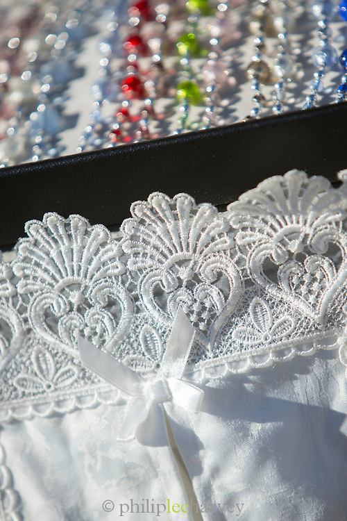 Lace for sale, Burano, Venice, Italy, Europe