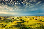 Killdeer Badlands at sunset. East Block.<br /> Grasslands National Park<br /> Saskatchewan<br /> Canada