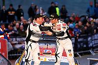 MOTORSPORT - WORLD RALLY CHAMPIONSHIP 2010 - WALES RALLY GB / RALLYE DE GRANDE-BRETAGNE - CARDIFF (GBR) - 11 TO 14/11/2010 - PHOTO : ALEXANDRE GUILLAUMOT / DPPI - <br /> PETTER SOLBERG (NOR) / CHRIS PATTERSON (GBR) - CITROËN C4 WRC - PETTER SOLBERG WORLD RALLY TEAM - AMBIANCE PODIUM