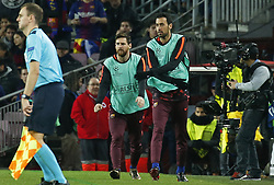 December 5, 2017 - Barcelona, Catalonia, Spain - Leo Messi and Sergio Busquets during the UEFA Champions League match between FC Barcelona v Sporting CP, in Barcelona, on December 05, 2017. (Credit Image: © Joan Valls/NurPhoto via ZUMA Press)