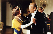 Gerald Ford (1913-2006) 38th President of the United States 1974-1977, dancing with Queen Elizabeth II at the ball at the White House, Washington, during the 1976 Bicentennial Celebrations of the Declaration of Independence.