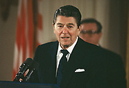 Reagan speaks to the winners of the Medals of Science and Technlogy in the East Room of the White House on March 12, 1986<br />Photo by Dennis Brack