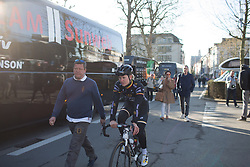 Jolien D'Hoore (BEL) of Wiggle Hi5 Cycling Team rolls back to the team bus after sign-on for the Ronde Van Vlaanderen - a 153.2 km road race, starting and finishing in Oudenaarde on April 2, 2017, in East Flanders, Belgium.