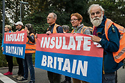 Insulate Britain climate activists block a slip road from the M25, causing a long tailback on the motorway, as part of a new campaign intended to push the UK government to make significant legislative change to start lowering emissions on 13th September 2021 in Godstone, United Kingdom. The activists, who wrote to Prime Minister Boris Johnson on 13th August, are demanding that the government immediately promises both to fully fund and ensure the insulation of all social housing in Britain by 2025 and to produce within four months a legally binding national plan to fully fund and ensure the full low-energy and low-carbon whole-house retrofit, with no externalised costs, of all homes in Britain by 2030 as part of a just transition to full decarbonisation of all parts of society and the economy.