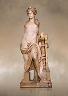 Second Century Roman statue of Apollo excavated from the Theatre of Carthage. The Bardo National Museum, Tunis, Tunisia. Inv No C939 .<br /> <br /> If you prefer to buy from our ALAMY STOCK LIBRARY page at https://www.alamy.com/portfolio/paul-williams-funkystock/greco-roman-sculptures.html . Type -    BARDO    - into LOWER SEARCH WITHIN GALLERY box - Refine search by adding a subject, place, background colour, museum etc.<br /> <br /> Visit our CLASSICAL WORLD HISTORIC SITES PHOTO COLLECTIONS for more photos to download or buy as wall art prints https://funkystock.photoshelter.com/gallery-collection/The-Romans-Art-Artefacts-Antiquities-Historic-Sites-Pictures-Images/C0000r2uLJJo9_s0c