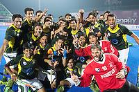 BHUBANESWAR (India) - Pakistan bereikt finale. Gekte rond de halve finalewedstrijd tuusen India en Pakistan bij de Champions Trophy hockey. Bij India is Roelant oltmans de bondscoach . Pakistan won verrassend door in de laatste minuut te scoren. ANP KOEN SUYK