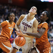 UNCASVILLE, CONNECTICUT- DECEMBER 4: Kia Nurse #11 of the Connecticut Huskies is fouled by Lashann Higgs #10 of the Texas Longhorns as she drives to the basket during the UConn Huskies Vs Texas Longhorns, NCAA Women's Basketball game in the Jimmy V Classic on December 4th, 2016 at the Mohegan Sun Arena, Uncasville, Connecticut. (Photo by Tim Clayton/Corbis via Getty Images)