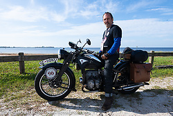 Richard Campbell sitting on his restored 1940 opposed twin Zundapp during the Cross Country Chase motorcycle endurance run from Sault Sainte Marie, MI to Key West, FL. (for vintage bikes from 1930-1948). 287 mile ride of Stage-8 from Tallahassee to Lakeland, FL USA. Friday, September 13, 2019. Photography ©2019 Michael Lichter.