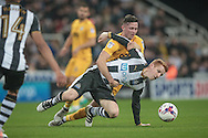Jack Colback (Newcastle United) is fouled by the Preston forward during the EFL Cup 4th round match between Newcastle United and Preston North End at St. James's Park, Newcastle, England on 25 October 2016. Photo by Mark P Doherty.