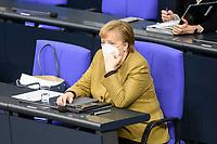 11 FEB 2021, BERLIN/GERMANY:<br /> Angela Merkel, CDU, Bundeskanzlerin, Debatte nach Ihrer Regierungserklaerung zur Bewaeltigung der Corvid-19-Pandemie, Plenum, Reichstagsgebaeude, Deutscher Bundestag<br /> IMAGE: 20210211-01-074<br /> KEYWORDS: Corona, Mundschutz, Maske