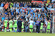 Manchester city fans applaud the Manchester city players at the end of the match.Barclays Premier league match, Swansea city v Manchester city at the Liberty Stadium in Swansea, South Wales on Sunday 15th May 2016.<br /> pic by Andrew Orchard, Andrew Orchard sports photography.