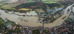**Previously unseen pics from original aerial shoot** © London News Pictures.  09/02/2014. Henley-on-Thames, UK.  Aerial view showing flooding covering Henley-on-Thames, Oxfordshire. The Thames river has hit record levels causing extensive flooding to parts of the southeast of England. Photo credit : Ben Cawthra/LNP