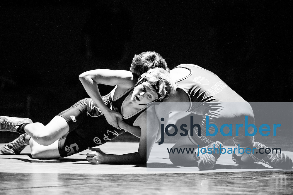 Capistrano Valley's Chase Cook, Aliso Niguel's Kyle Gaeta during Sea View league wrestling at Capistrano Valley High School on Thursday, January 14, 2016 in Mission Viejo, California. Capistrano Valley won 43-22. (Photo/Josh Barber)