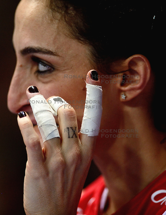 09-01-2016 TUR: European Olympic Qualification Tournament Turkije - Italie, Ankara<br /> De strijd om de tweede Japan ticket wordt gewonnen door Italie. Turkije verliest in de 5de set met 13-15 / Busra Kilicli #9 of Turkey