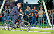 King Willem Alexander on a electric bicycle opens Thursday September 3, 2015 the new factory bicycle