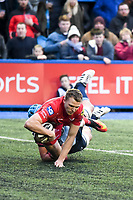 Rugby Union - 2017 / 2018 Guinness Pro14 - Cardiff Blues vs. Scarlets<br /> <br /> Tom Prydie of Llanelli Scarlets  scores a try , at Cardiff Arms Park.<br /> <br /> COLORSPORT/WINSTON BYNORTH