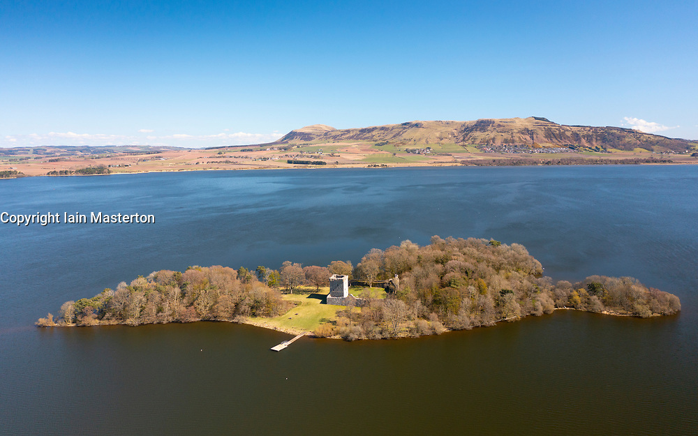 Aerial view from drone of Lochleven Castle ( closed during covid-19 lockdown) on island on Loch Leven, Perth and Kinross, Scotland, UK