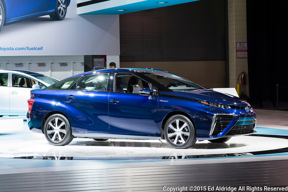 DETROIT, MI, USA - JANUARY 13, 2015: Toyota Mirai fuel cell vehicle on display during the 2015 Detroit International Auto Show at the COBO Center in downtown Detroit.