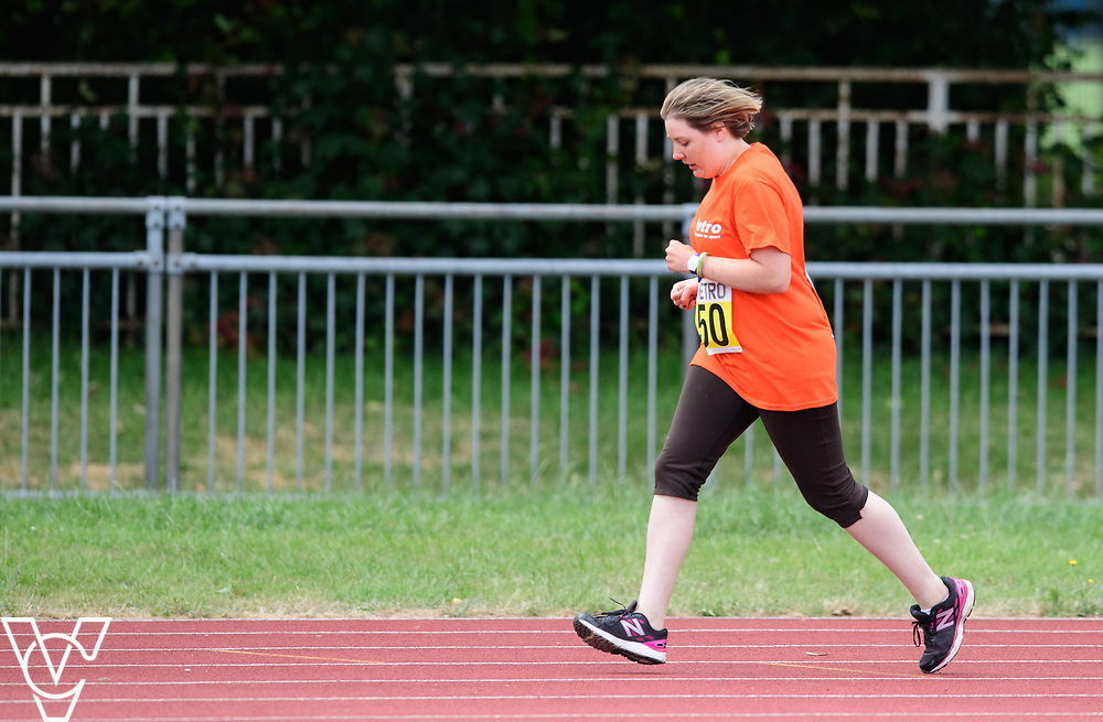 Event: 400 meters<br /> Competitors, from left: Ruth Stacey<br /> <br /> Metro Blind Sport's 42nd Athletics Open, held at Mile End Stadium, Tower Hamlets, London.<br /> <br /> Picture: Chris Vaughan Photography for Metro Blind Sports<br /> Date: June 16, 2018