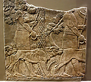 Wall panel depicting huntsmen with hounds in a garden. Assyrian, approx. 645-635 BC. From the  North Palace, Nineveh.
