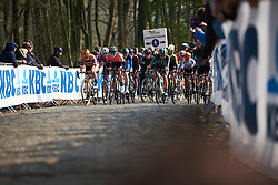 Amy Pieters (NED), Demi Vollering (NED) and Leah Thomas (USA) lead up Kemmelberg at Gent Wevelgem - Elite Women 2019, a 136.9 km road race from Ieper to Wevelgem, Belgium on March 31, 2019. Photo by Sean Robinson/velofocus.com