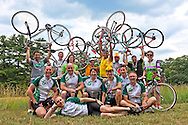 Participants on the Pennsylvania Environment Ride pose with their bicycles.