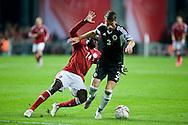 04.09.2015. Copenhagen, Denmark. <br /> Emir Lenjani (L) of Albania fights for the ball with Pione Sisto (R) of Denmark during their UEFA European Champions qualifying round match at the Parken Stadium. <br /> Photo: © Ricardo Ramirez.