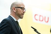22 JUN 2017, BERLIN/GERMANY:<br /> Peter Tauber, CDU Generalsekretaer, stellt erste Plakate zur Bundestagswahl 2017 vor, Konrad-Adenauer-Haus<br /> IMAGE: 20170622-01-001<br /> KEYWORDS: Wahlkampf