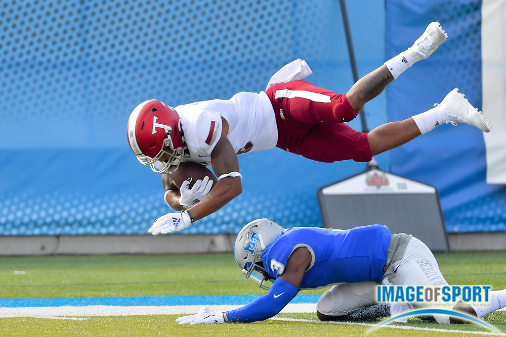 """Troy Trojans wide receiver Khalil McClain (6) catches a pass against Middle Tennessee Blue Raiders safety Gregory Grate Jr. (3) during the first half at Johnny """"Red"""" Floyd Stadium in Murfreesboro, Tenn., Saturday, Sept. 19, 2020. (Jim Brown/Image of Sport)"""