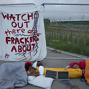 13 local activists locked themselves in specially made arm tubes to block the entrance to Quadrilla's drill site in New Preston Road, July 03 2017, Lancashire, United Kingdom. Councillor Gina Dowding and Barbara Cookson. The 13 activists included 3 councillors; Julie Brickles, Miranda Cox and Gina Dowding and Nick Danby, Martin Porter, Jeanette Porter,  Michelle Martin, Louise Robinson,<br /> Alana McCullough, Nick Sheldrick, Cath Robinson, Barbara Cookson, Dan Huxley-Blyth. The blockade is a repsonse to the emmidiate drilling for shale gas, fracking, by the fracking company Quadrilla. Lancashire voted against permitting fracking but was over ruled by the conservative central Government. All the activists have been active in the struggle against fracking for years but this is their first direct action of peacefull protesting. Fracking is a highly contested way of extracting gas, it is risky to extract and damaging to the environment and is banned in parts of Europe . Lancashire has in the past experienced earth quakes blamed on fracking.