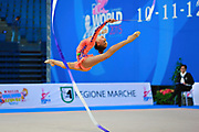 "Averina Arina duringv ball routine at the International Tournament of rhythmic gymnastics ""Città di Pesaro"", 10 April, 2015. Arina was born on August 13, 1998 in Zavolzhye, Russia. Arina has a twin sister ,Dina is also herself a great gymnast member of the Russian National Team.<br />
