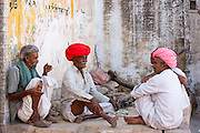 Indian men in traditional clothing, Narlai village in Rajasthan, Northern India