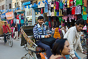 Street scene in holy city of Varanasi, Benares, Northern India