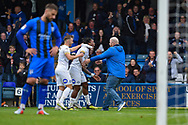 Peterborough United forward Ivan Toney (17) (middle) celebrates with team mates and pitch invading fan  during the EFL Sky Bet League 1 match between Gillingham and Peterborough United at the MEMS Priestfield Stadium, Gillingham, England on 22 September 2018. Picture by Martin Cole