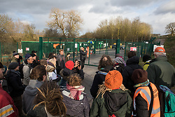 Harefield, UK. 17 January, 2020. Sarah Green of Save Colne Valley leads activists from Stop HS2 and Extinction Rebellion on a tour of sites where HS2 has destroyed and is intending to destroy trees at the beginning of a three-day 'Stand for the Trees' protest in the Colne Valley. The event has been timed to coincide with tree felling work by HS2 adjacent to the site of Stop HS2's Colne Valley wildlife protection camp. 108 ancient woodlands are set to be destroyed by the high-speed rail link.