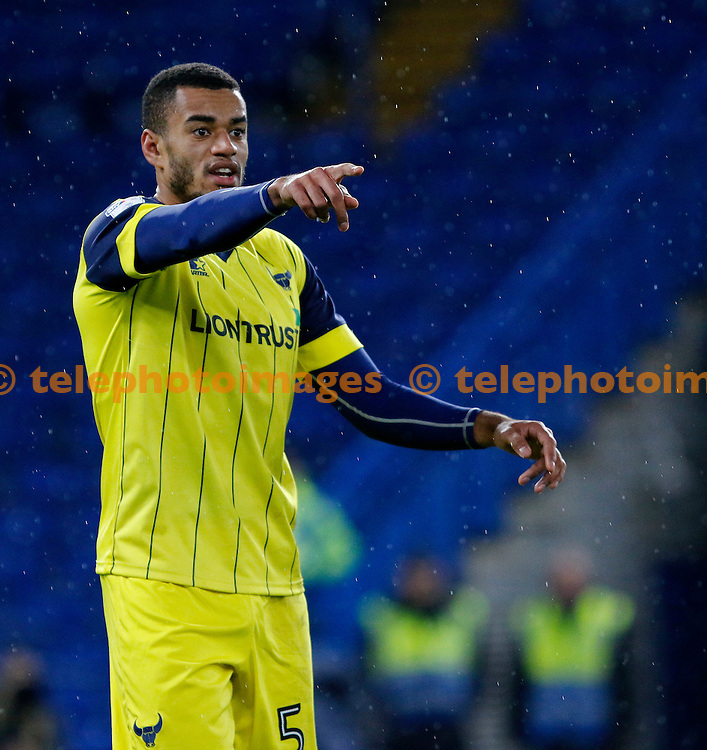 Oxford's Curtis Nelson directs players in front during the Checkatrade Trophy match between Chelsea U21's and Oxford United at Stamford Bridge in London. November 8, 2016.<br /> Carlton Myrie / Telephoto Images<br /> +44 7967 642437