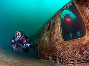 LungFish and KISS Spirit rebreather divers on the site of the Aircraft Challenger 600 at Dutch Springs, Scuba Diving Resort in Pennsylvania