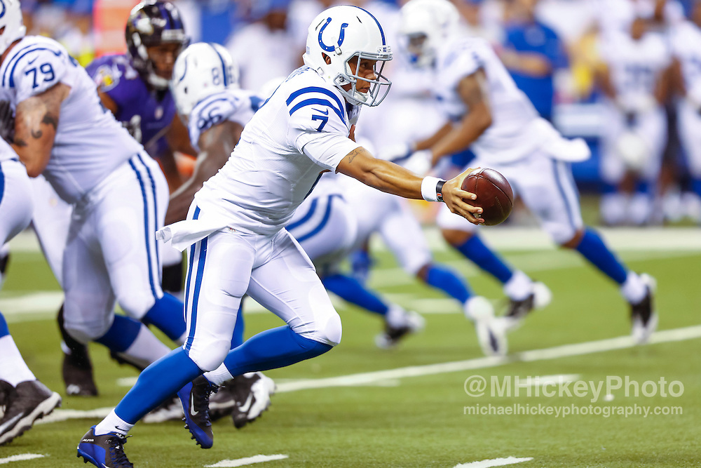 INDIANAPOLIS, IN - AUGUST 20: Stephen Morris #7 of the Indianapolis Colts hands the ball off during the game against the Baltimore Ravens at Lucas Oil Stadium on August 20, 2016 in Indianapolis, Indiana.  (Photo by Michael Hickey/Getty Images) *** Local Caption *** Stephen Morris