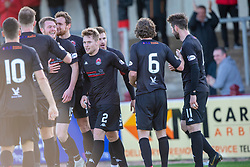 Clyde's players celebrate after after Arbroath's Ricky Little diverted the ball into his own net for Clyde's second goal. Arbroath 0 v 2 Clyde, Tunnocks Caramel Wafer Challenge Cup 4th Round, played 12/10/2019 at Arbroath's home ground, Gayfield Park.