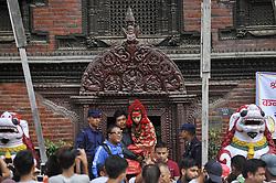 August 4, 2017 - Kathmandu, Nepal - Nepalese devotees carrying Kumari or living goddess of Nepal towards the Changu Narayan or Shree Champak Narayan Kalasa Yatra Jatra festival celebrated in Hunuman Dhoka, Kathmandu, Nepal on Friday, August 04, 2017. (Credit Image: © Narayan Maharjan/NurPhoto via ZUMA Press)